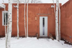 Exterior Custom Side Entry Door with Glass Awning Over Door Santa Fe Winter